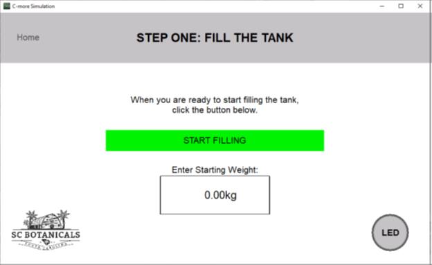 THC Remediation Software Enter Starting Material Weight Screen