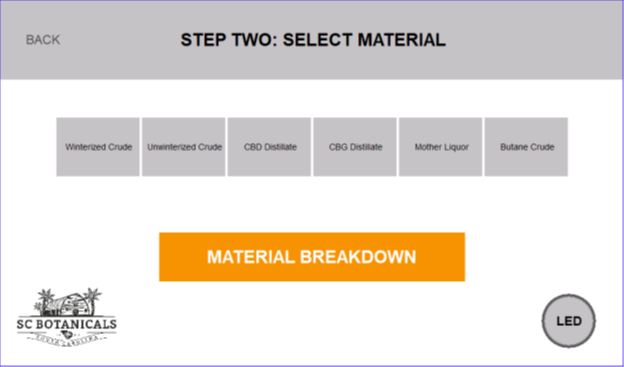 THC Remediation Software Starting Material Type