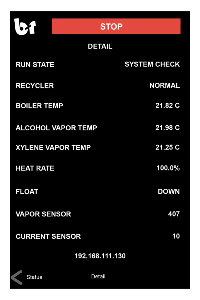 Current Details of the Solvent Recycler